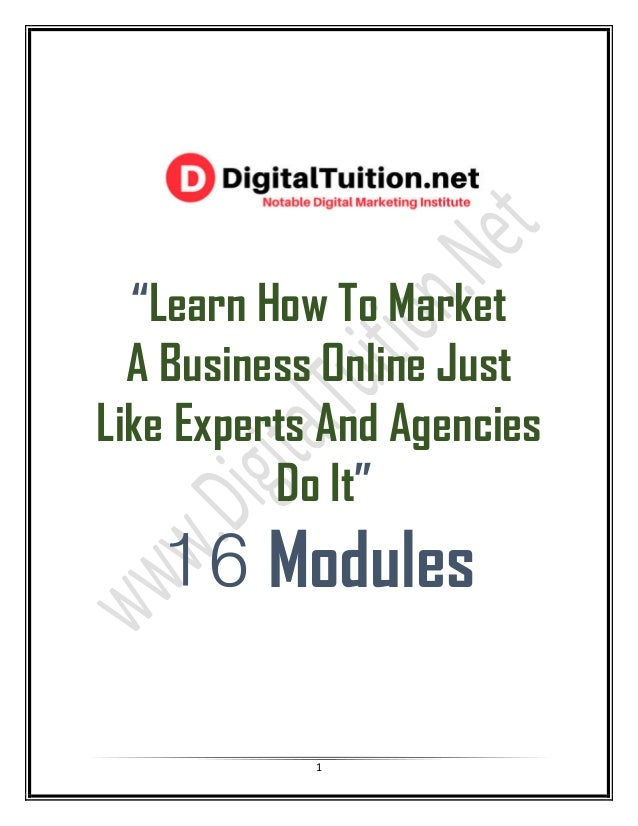 """1 """"Learn How To Market A Business Online Just Like Experts And Agencies Do It"""" 16 Modules"""