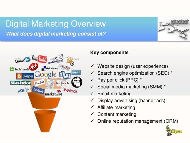 Key components  Website design (user experience)  Search engine optimization (SEO) *  Pay per click (PPC) *  Social me...