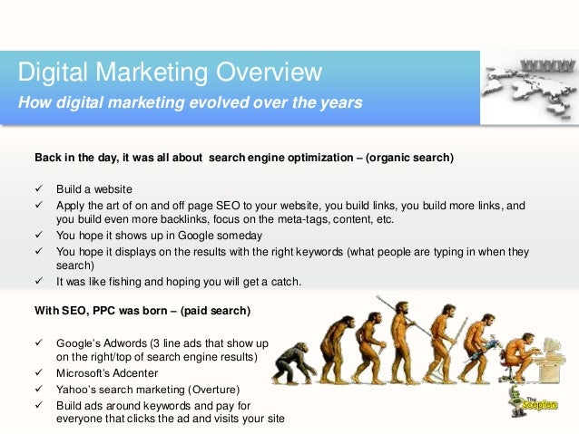Back in the day, it was all about search engine optimization – (organic search)  Build a website  Apply the art of on an...