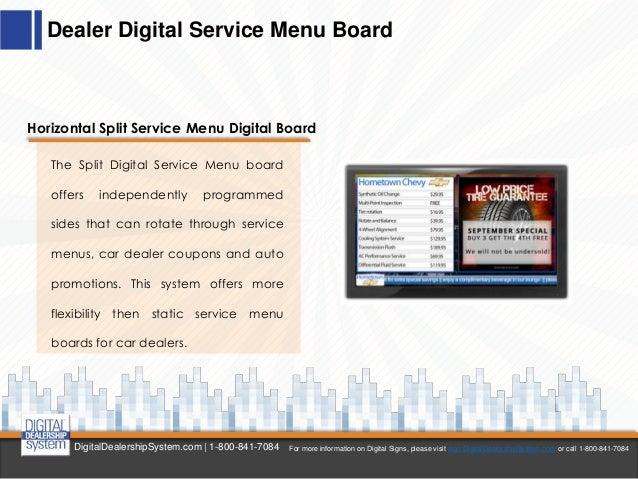 Digital Service Menu Boards For Car Dealers