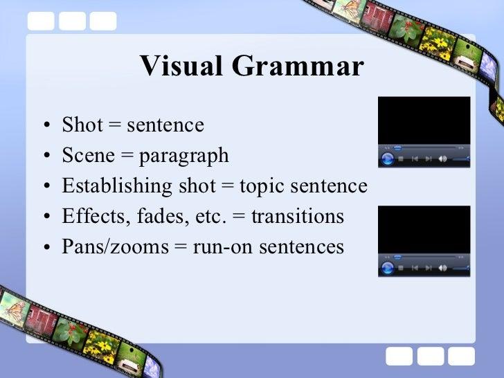 Visual Grammar <ul><li>Shot = sentence </li></ul><ul><li>Scene = paragraph </li></ul><ul><li>Establishing shot = topic sen...