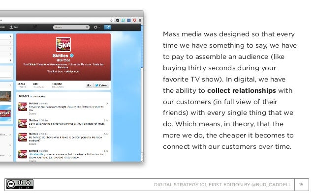 DIGITAL STRATEGY 101, FIRST EDITION BY @BUD_CADDELL 15 Mass media was designed so that every time we have something to say...