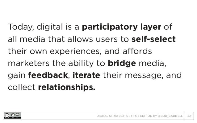 DIGITAL STRATEGY 101, FIRST EDITION BY @BUD_CADDELL 22 Today, digital is a participatory layer of all media that allows us...