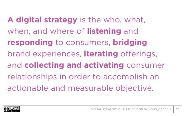 DIGITAL STRATEGY 101, FIRST EDITION BY @BUD_CADDELL 24 A digital strategy is the who, what, when, and where of listening a...