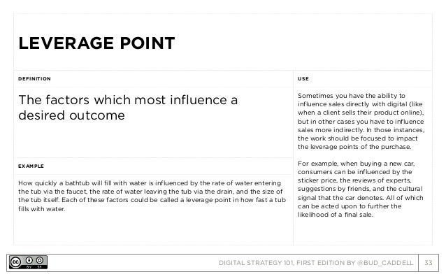 DIGITAL STRATEGY 101, FIRST EDITION BY @BUD_CADDELL 33 LEVERAGE POINTLEVERAGE POINT DEFINITION USE The factors which most ...