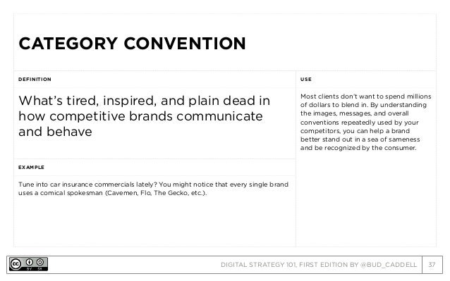 DIGITAL STRATEGY 101, FIRST EDITION BY @BUD_CADDELL 37 CATEGORY CONVENTIONCATEGORY CONVENTION DEFINITION USE What's tired,...