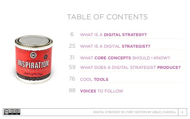 DIGITAL STRATEGY 101, FIRST EDITION BY @BUD_CADDELL 4 TABLE OF CONTENTSTABLE OF CONTENTS 6 WHAT IS A DIGITAL STRATEGY? 25 ...