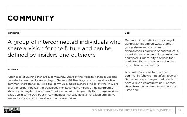 DIGITAL STRATEGY 101, FIRST EDITION BY @BUD_CADDELL 47 COMMUNITYCOMMUNITY DEFINITION USE A group of interconnected individ...