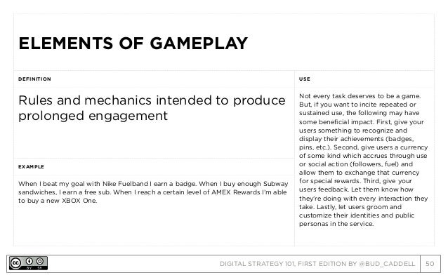 DIGITAL STRATEGY 101, FIRST EDITION BY @BUD_CADDELL 50 ELEMENTS OF GAMEPLAYELEMENTS OF GAMEPLAY DEFINITION USE Rules and m...