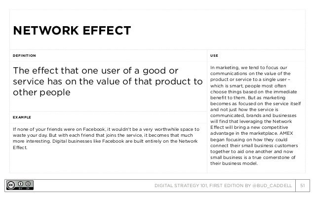 DIGITAL STRATEGY 101, FIRST EDITION BY @BUD_CADDELL 51 NETWORK EFFECTNETWORK EFFECT DEFINITION USE The effect that one use...
