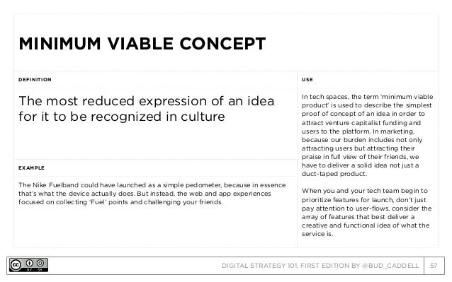 DIGITAL STRATEGY 101, FIRST EDITION BY @BUD_CADDELL 57 MINIMUM VIABLE CONCEPTMINIMUM VIABLE CONCEPT DEFINITION USE The mos...