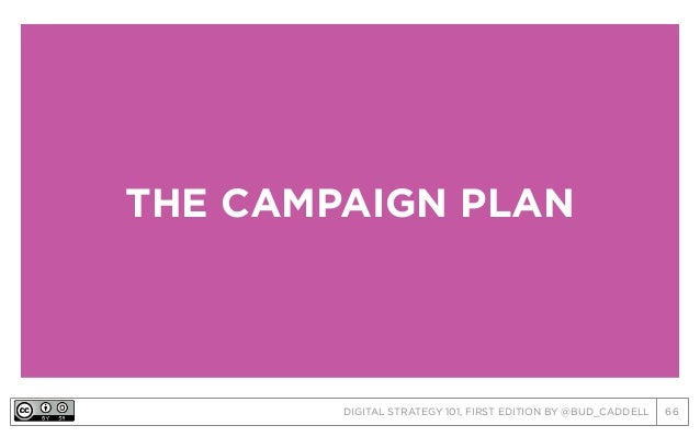 DIGITAL STRATEGY 101, FIRST EDITION BY @BUD_CADDELL 66 THE CAMPAIGN PLAN