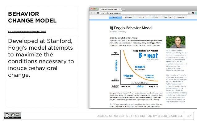 DIGITAL STRATEGY 101, FIRST EDITION BY @BUD_CADDELL 87 BEHAVIOR CHANGE MODEL http://www.behaviormodel.org/ Developed at St...