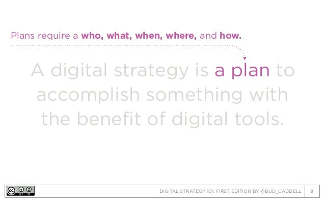 DIGITAL STRATEGY 101, FIRST EDITION BY @BUD_CADDELL 9 A digital strategy is a plan to accomplish something with the benefi...