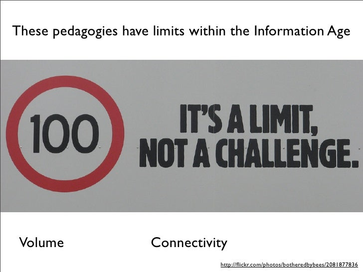 These pedagogies have limits within the Information Age      Volume               Connectivity                            ...