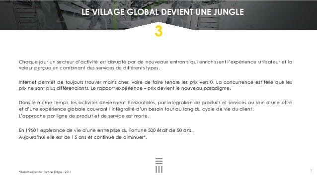 LE VILLAGE GLOBAL DEVIENT UNE JUNGLE *Deloitte Center for the Edge - 2011 3 Chaque jour un secteur d'activité est disrupté...