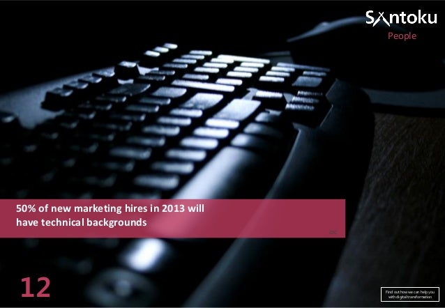 People  50% of new marketing hires in 2013 will have technical backgrounds IDC  12  Find out how we can help you with digi...