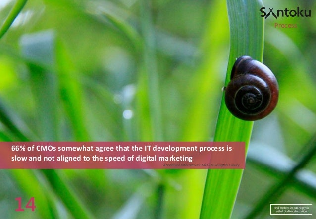 Process  66% of CMOs somewhat agree that the IT development process is slow and not aligned to the speed of digital market...