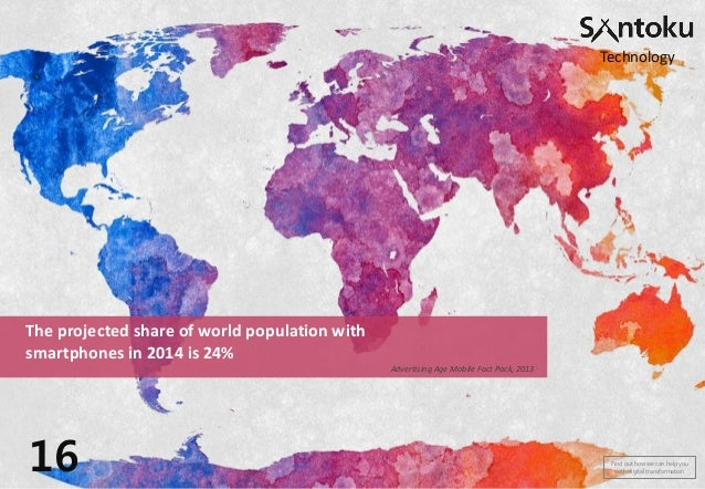 Technology  The projected share of world population with smartphones in 2014 is 24% Advertising Age Mobile Fact Pack, 2013...