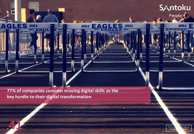 People  77% of companies consider missing digital skills as the key hurdle to their digital transformation Capgemini Consu...