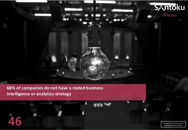 Process  68% of companies do not have a stated business intelligence or analytics strategy Mary Meeker's Internet Trends, ...