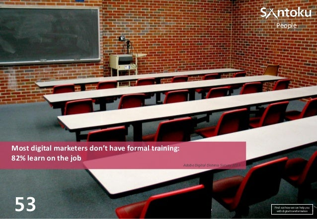 People  Most digital marketers don't have formal training: 82% learn on the job Adobe Digital Distress Survey 2013  53  Fi...