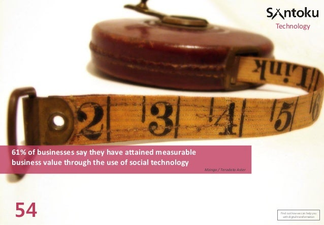 Technology  61% of businesses say they have attained measurable business value through the use of social technology Mzinga...