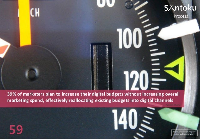 Process  39% of marketers plan to increase their digital budgets without increasing overall marketing spend, effectively r...