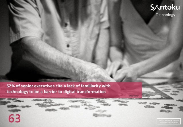 Technology  52% of senior executives cite a lack of familiarity with technology to be a barrier to digital transformation ...