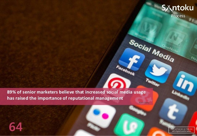 Process  89% of senior marketers believe that increased social media usage has raised the importance of reputational manag...