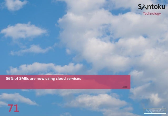 Technology  56% of SMEs are now using cloud services AGDC  71  Find out how we can help you with digital transformation