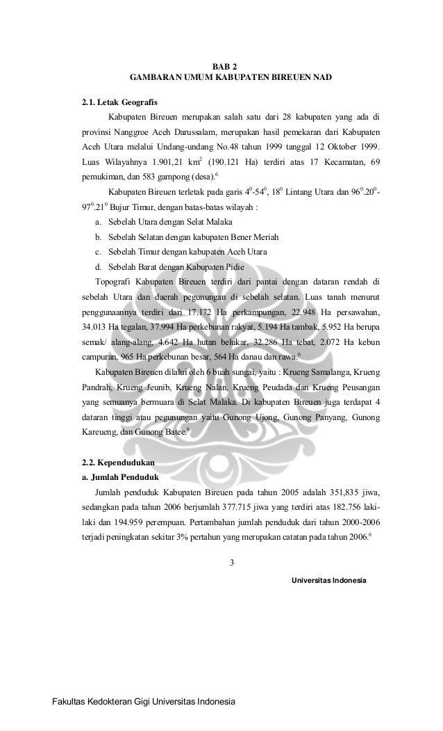 Universitas Indonesia 3 BAB 2 GAMBARAN UMUM KABUPATEN BIREUEN NAD 2.1. Letak Geografis Kabupaten Bireuen merupakan salah s...