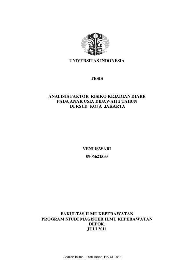 UNIVERSITAS INDONESIA  TESIS  ANALISIS FAKTOR RISIKO KEJADIAN DIARE PADA ANAK USIA DIBAWAH 2 TAHUN DI RSUD KOJA J...