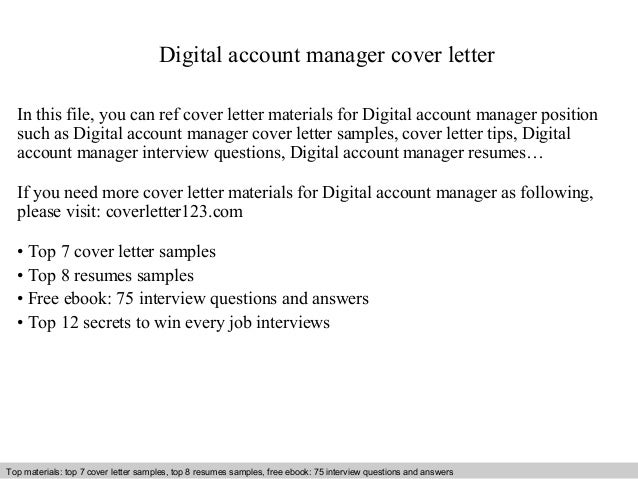 Digital Account Manager Cover Letter In This File, You Can Ref Cover Letter  Materials For ...