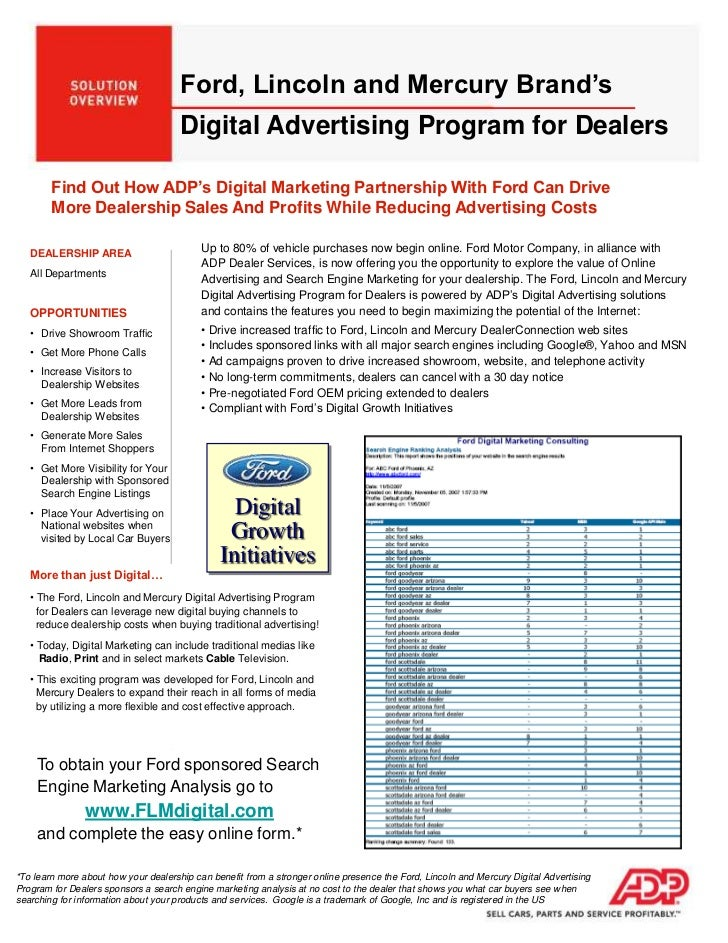 Digital<br />Growth<br />Initiatives<br />Ford, Lincoln and Mercury Brand's Digital Advertising Program for Dealers<br />F...