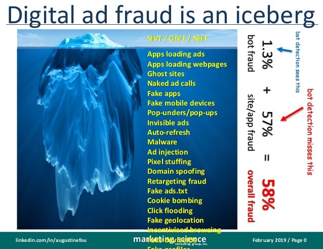 February 2019 / Page 0marketing.scienceconsulting group, inc. linkedin.com/in/augustinefou Digital ad fraud is an iceberg ...