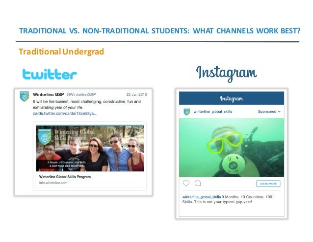 TRADITIONALVS.NON-TRADITIONALSTUDENTS:WHATCHANNELSWORKBEST? TraditionalUndergrad