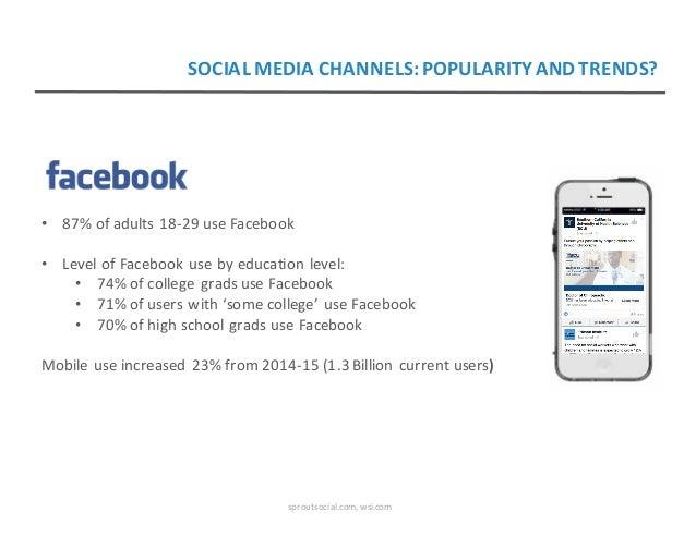 • 87%ofadults18-29useFacebook • LevelofFacebookusebyeducationlevel: • 74%ofcollegegradsuseFacebook • 71%...