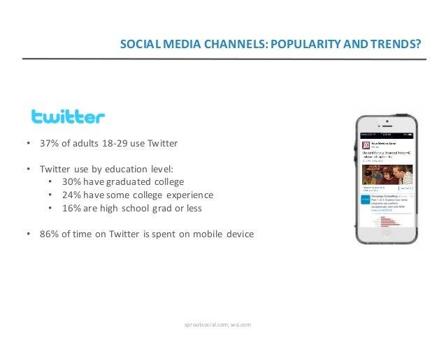 • 37%ofadults18-29useTwitter • Twitterusebyeducationlevel: • 30%havegraduatedcollege • 24%havesomecollegee...