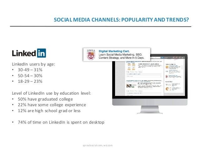 LinkedInusersbyage: • 30-49– 31% • 50-54– 30% • 18-29– 23% LevelofLinkedInusebyeducationlevel: • 50%havegr...