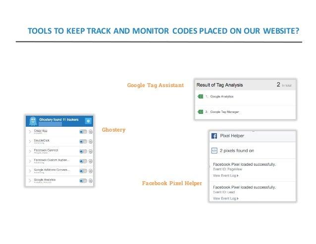 Google Tag Assistant Ghostery Facebook Pixel Helper TOOLSTOKEEPTRACKANDMONITOR CODESPLACEDONOURWEBSITE?