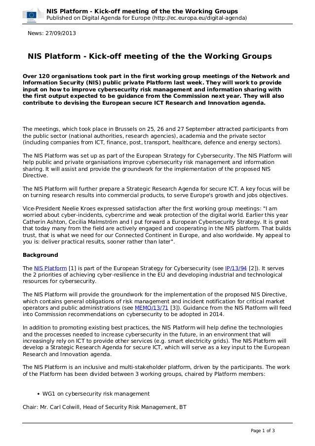 NIS Platform - Kick-off meeting of the the Working Groups Published on Digital Agenda for Europe (http://ec.europa.eu/digi...