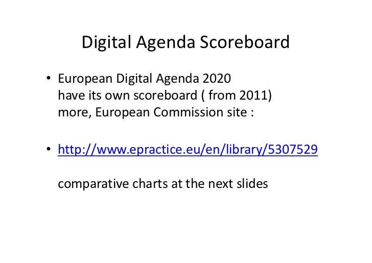 Digital Agenda Scoreboard• European Digital Agenda 2020  have its own scoreboard ( from 2011)  more, European Commission s...