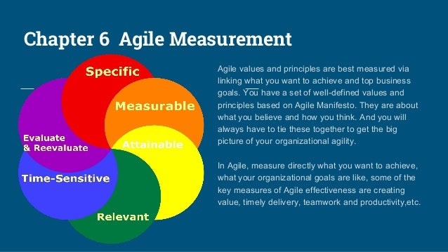 Chapter 6 Agile Measurement Agile values and principles are best measured via linking what you want to achieve and top bus...