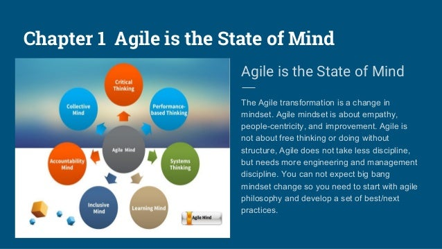 Chapter 1 Agile is the State of Mind Agile is the State of Mind The Agile transformation is a change in mindset. Agile min...