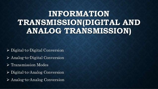 INFORMATION  TRANSMISSION(DIGITAL AND  ANALOG TRANSMISSION)   Digital-to-Digital Conversion   Analog-to-Digital Conversi...