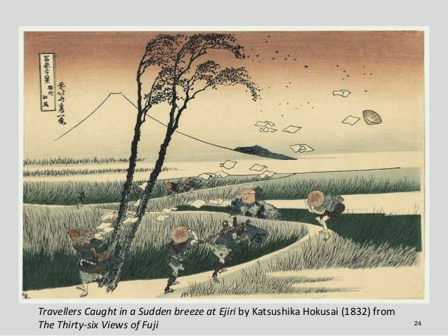 Travellers Caught in a Sudden breeze at Ejiri by Katsushika Hokusai (1832) fromThe Thirty-six Views of Fuji               ...