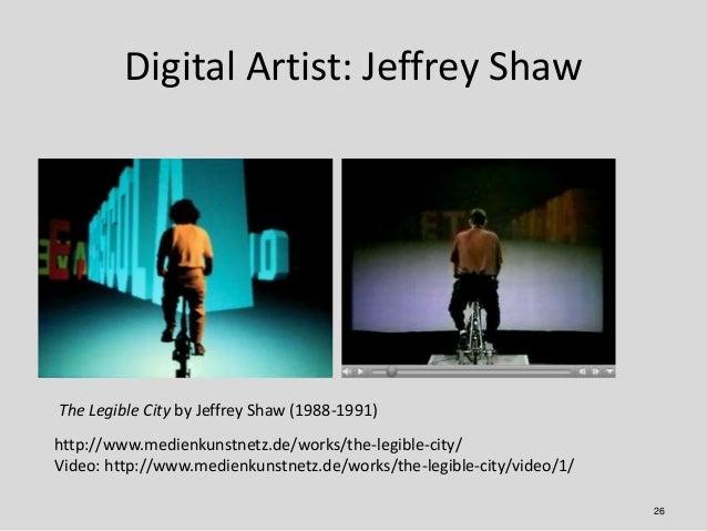 Digital Artist: Jeffrey ShawThe Legible City by Jeffrey Shaw (1988-1991)http://www.medienkunstnetz.de/works/the-legible-ci...