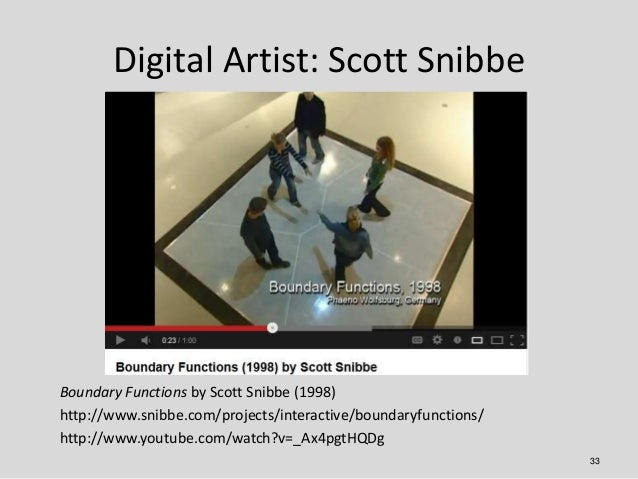 Digital Artist: Scott SnibbeBoundary Functions by Scott Snibbe (1998)http://www.snibbe.com/projects/interactive/boundaryfu...