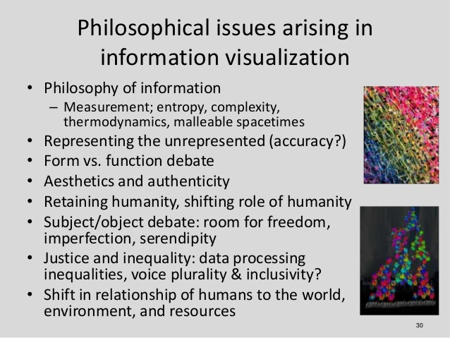 Philosophical issues arising in          information visualization• Philosophy of information    – Measurement; entropy, c...